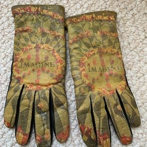 Leather cashmere lined gloves small